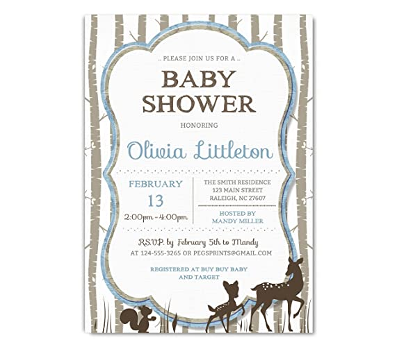 Amazon woodland baby shower invitation deer baby shower woodland baby shower invitation deer baby shower invitation boy woodland creatures shower forest filmwisefo Images