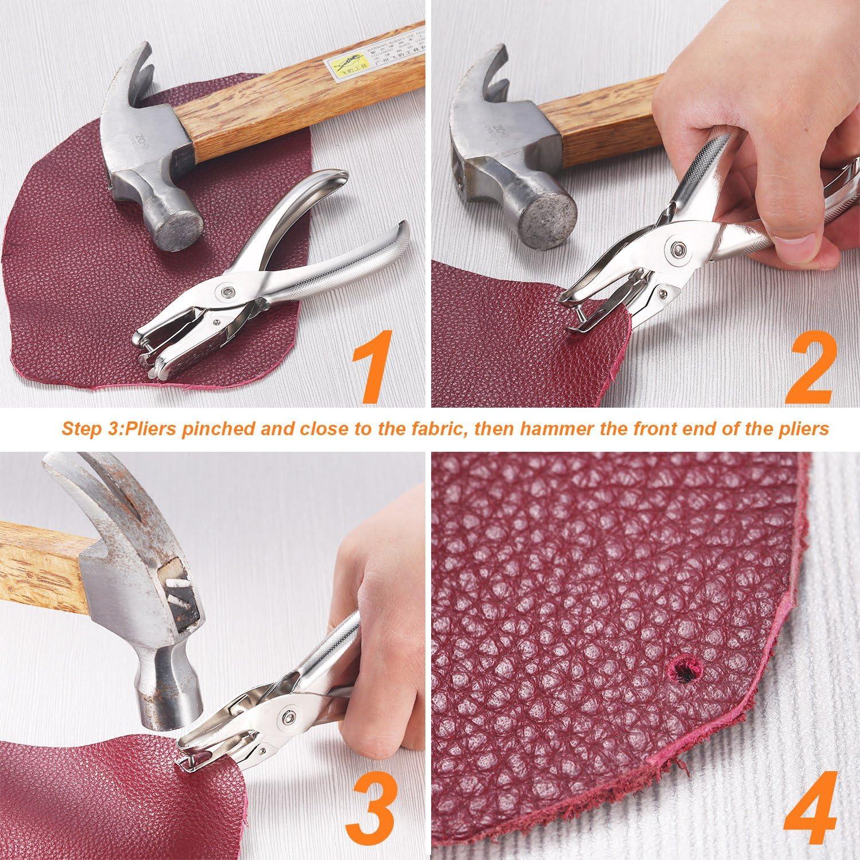Wuudi 480 sets 3 Gr/ö/ßen Leder Nieten Doppelkappe Niet Metall Ohrstecker mit 4 Werkzeuge Zange Setzer f/ür DIY Lederhandwerk kleidung Reparieren Dekoration,4 Farben