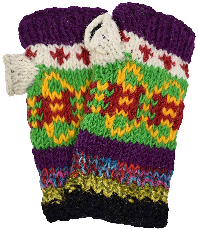 Woolen Handknit Multicolored Fleece Lined Warm Handwarmers Mittens