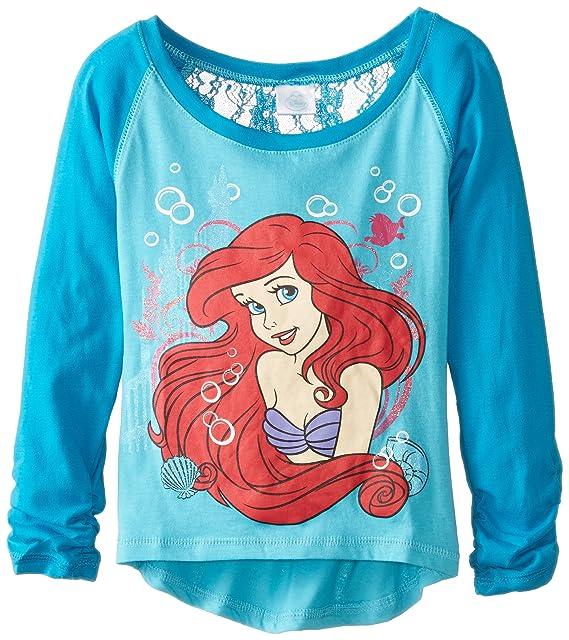 b92141d55 Disney Girls' Mermaid Ariel Raglan T-Shirt, Aqua Turquoise/Dark Turquoise,