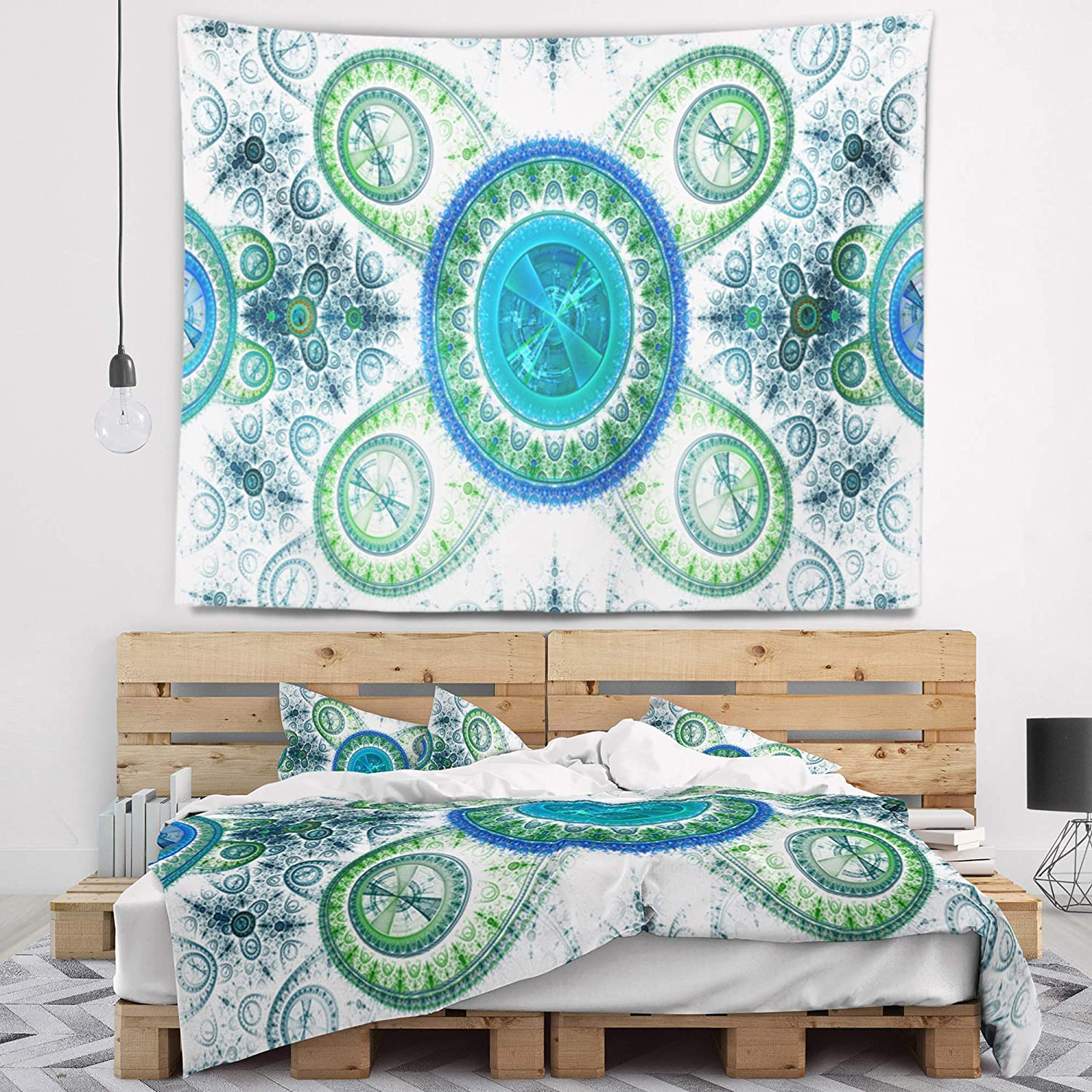 Designart TAP16328-80-68 'Blue Psychedelic Relaxing Abstract Blanket Décor Art for Home and Office Wall Tapestry, XL: 80' x 68', Created on Lightweight Polyester Fabric