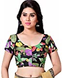 STUDIO SHRINGAAR LATEST POLY RAW SILK FLORAL PRINTED WOMENS SAREE BLOUSE WITH SHORT SLEEVES