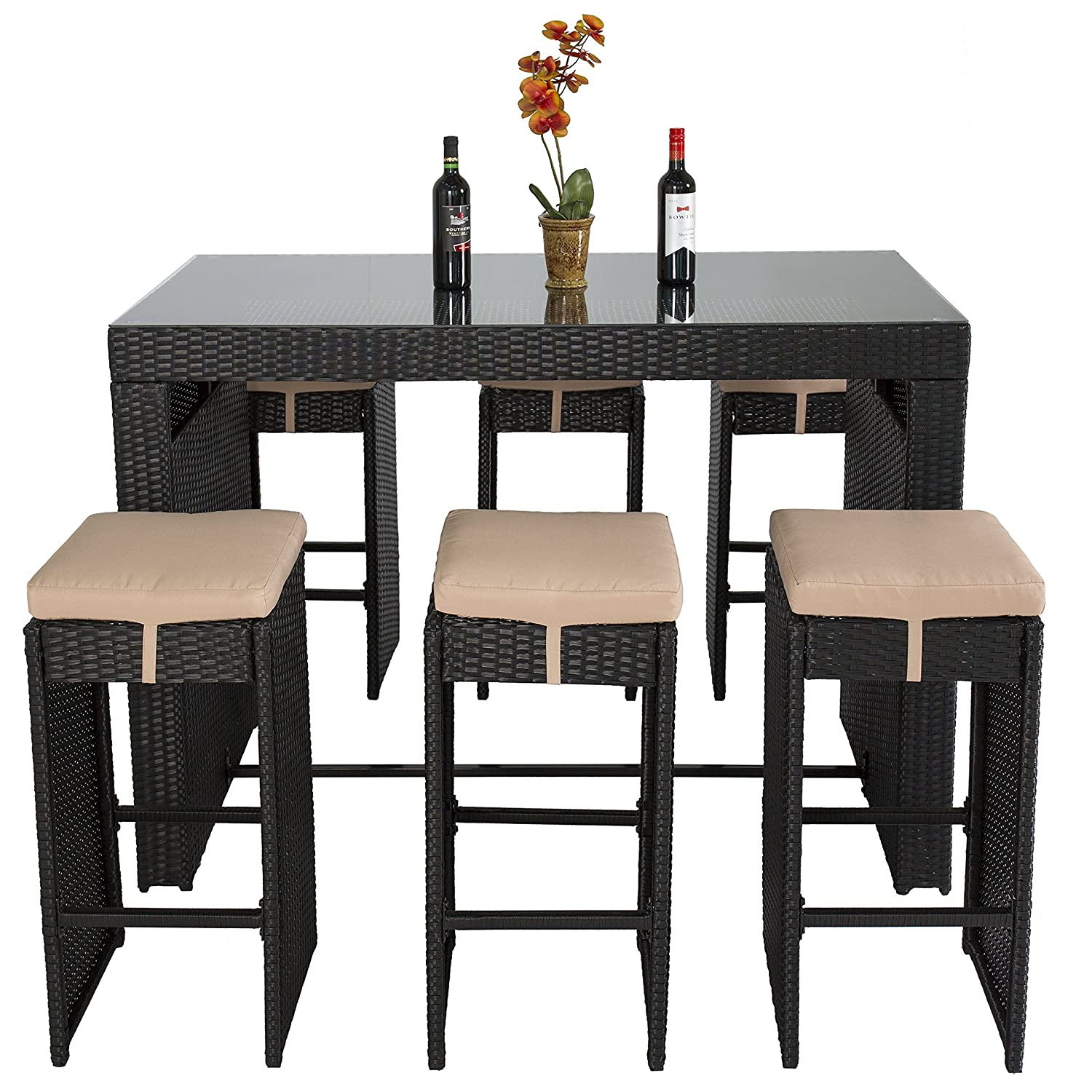 Amazon Best Choice Products 7pc Rattan Wicker Barstool Dining Table Set Bar Stool Black Patio Lawn Garden