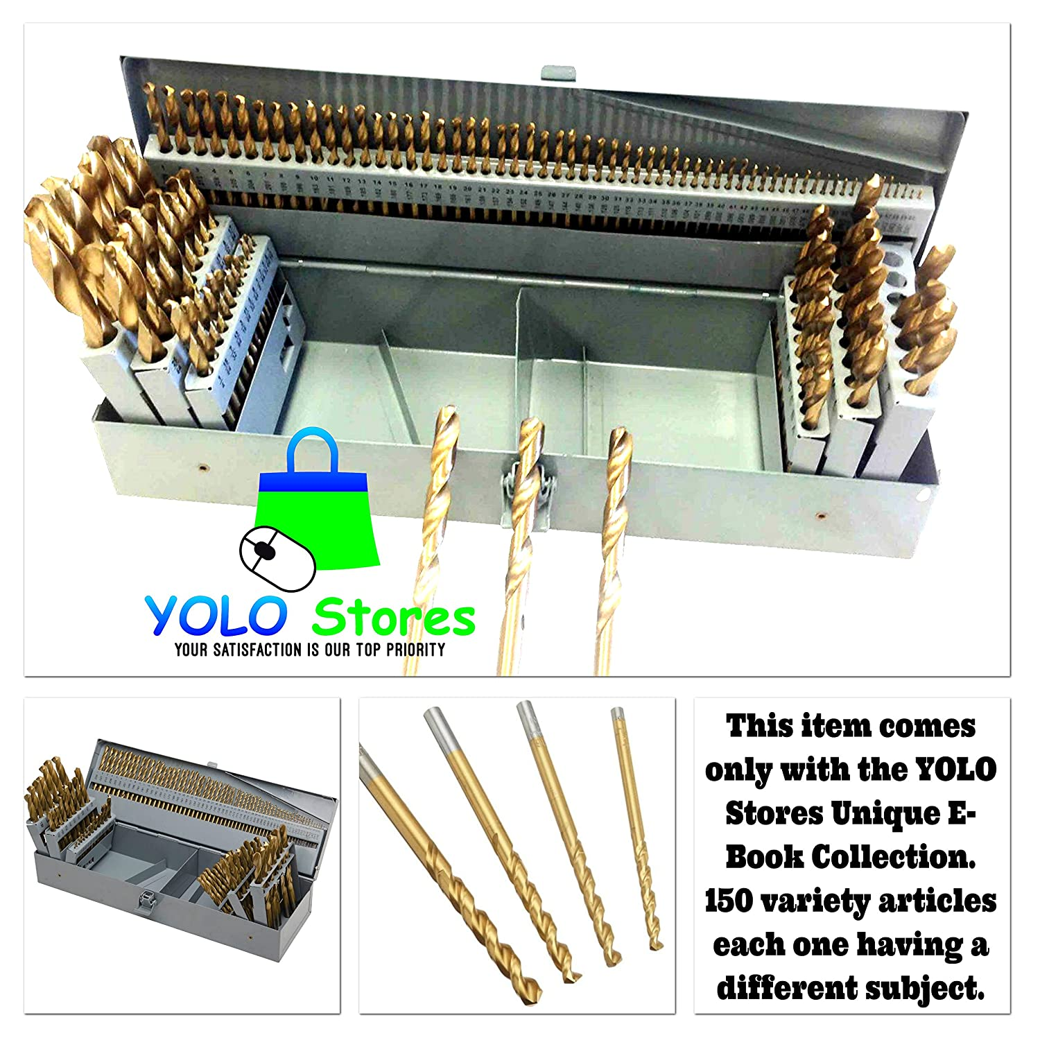 115pc Drill Bit Set Titanium w// Metal Index Case HSS Fractional Number Letter Steel Portable By YOLO Stores