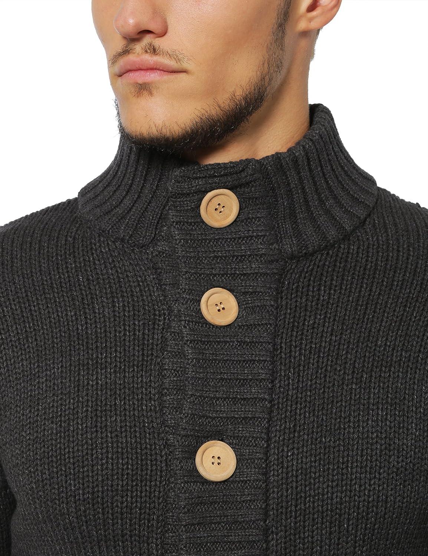 Lower East Cardigan gilet pour homme avec de gros boutons naturels en bois