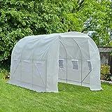 Serre de jardin tunnel surface sol 7 m² 3,5L x 2l x 2H m châssis tubulaire renforcé 18 mm 6 fenêtres blanc neuf 72