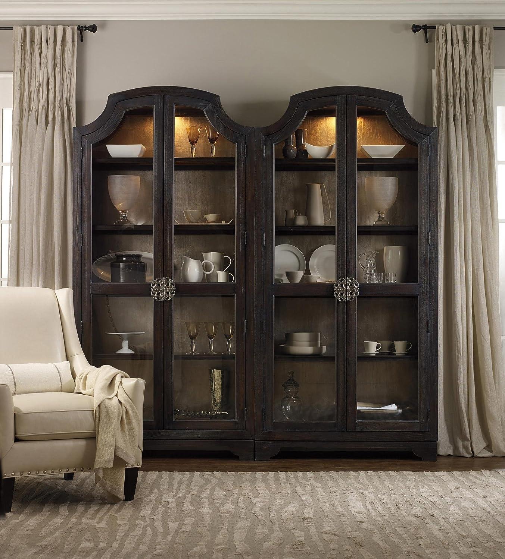Hooker Furniture Sanctuary Glass Bunching Curio in Ebony Antiqued Oak