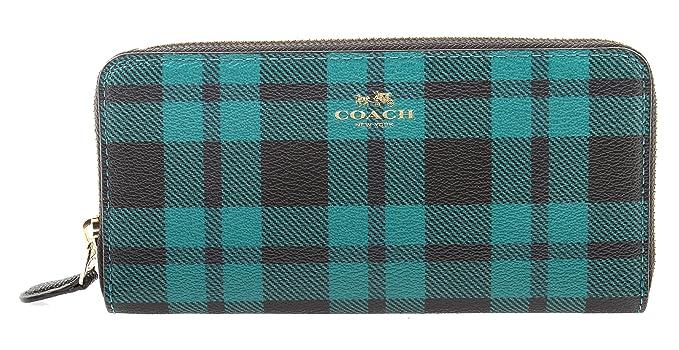 buy popular 7ee11 581ac Coach Riley Plaid Coated Canvas Slim Accordion Zip Wallet ...