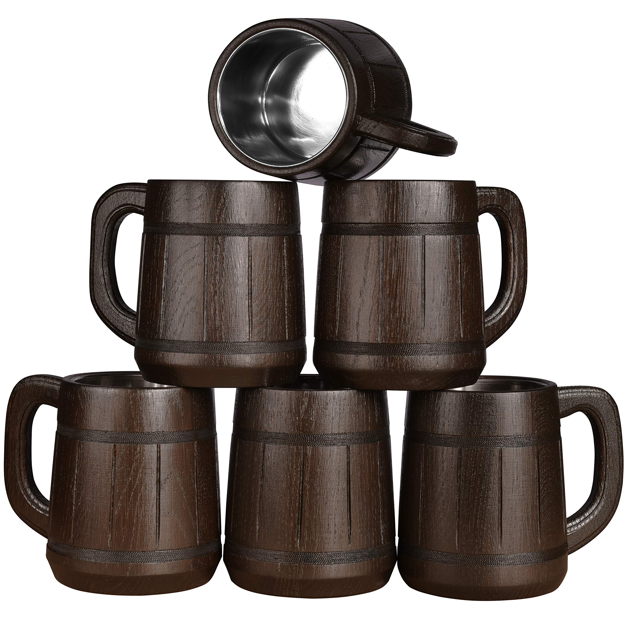Wooden Beer Mug Set. Men Craft IPA Drinking Cup Pint Wood Stein. Viking Ale Mead Dad Tankard Handle. Funny Father Day Wine Tumbler Birthday Anniversary Gift. Cute Man Cave Rustic Decor Party Accessory