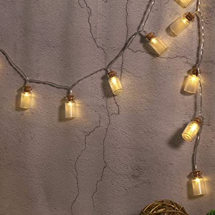 quality design b5a5d 361f8 BUSOH Lantern Led String Lights, Mini Bottle 3D Fairy Light [ 6.56 FT 20  LED ] Battery Operated Boho Led Cage Fairy Ornament for Christmas  Tree/Indoor ...