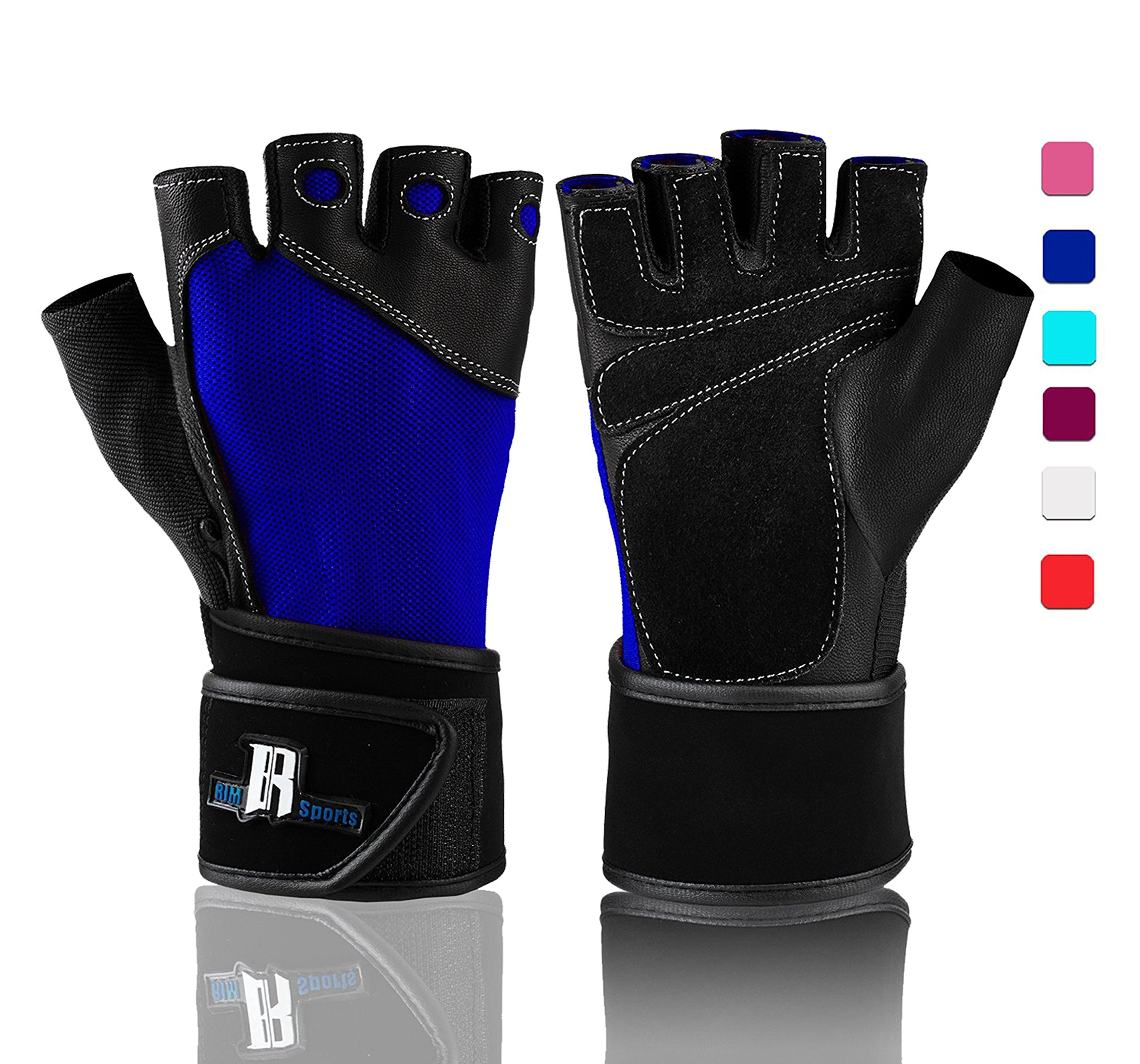 RIMSports Weightlifting Gloves with Wrist Support - Workout Gloves with Wrist Padding for Lifting Weights Cross Training Power Lifting Equipment Gloves, Quality Lifting Gloves (Blue XS)