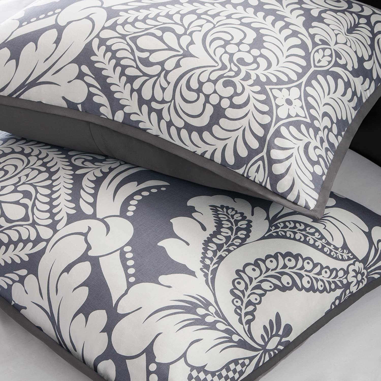 Indigo Blue Cotton Bedroom Comforters 7 Pieces Bedding Sets Damask Madison Park Vienna Queen Size Bed Comforter Set Bed in A Bag