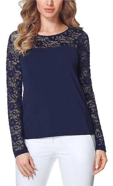 Bellivalini Blusas Encaje Camisetas Mangas Largas Camisas Ropa Elegante Cóctel Mujer BLV50-132 (Azul