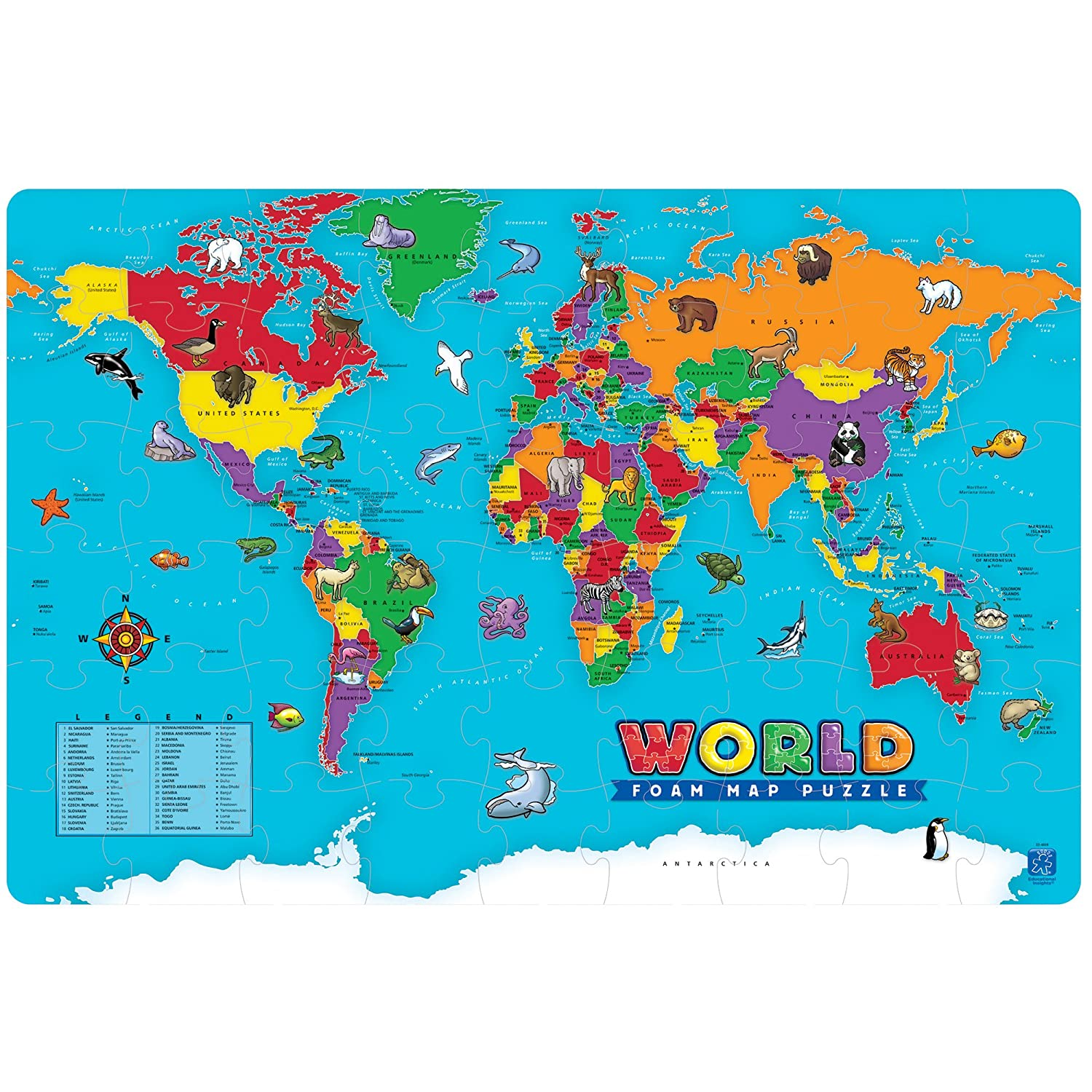 Amazoncom Educational Insights World Foam Map Puzzle Toys Games