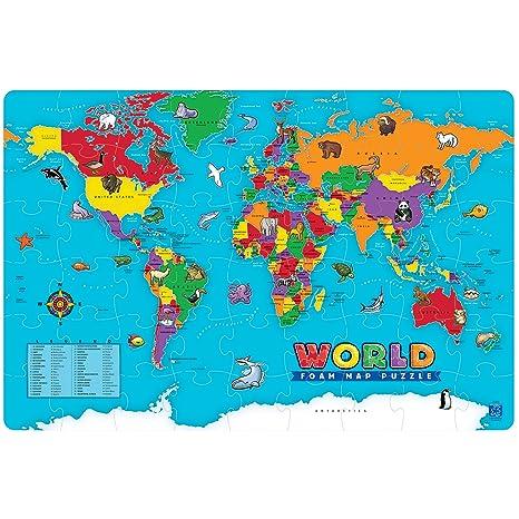 Foam World Map Puzzle Kids Play Mat Foam Nursery Learning ...