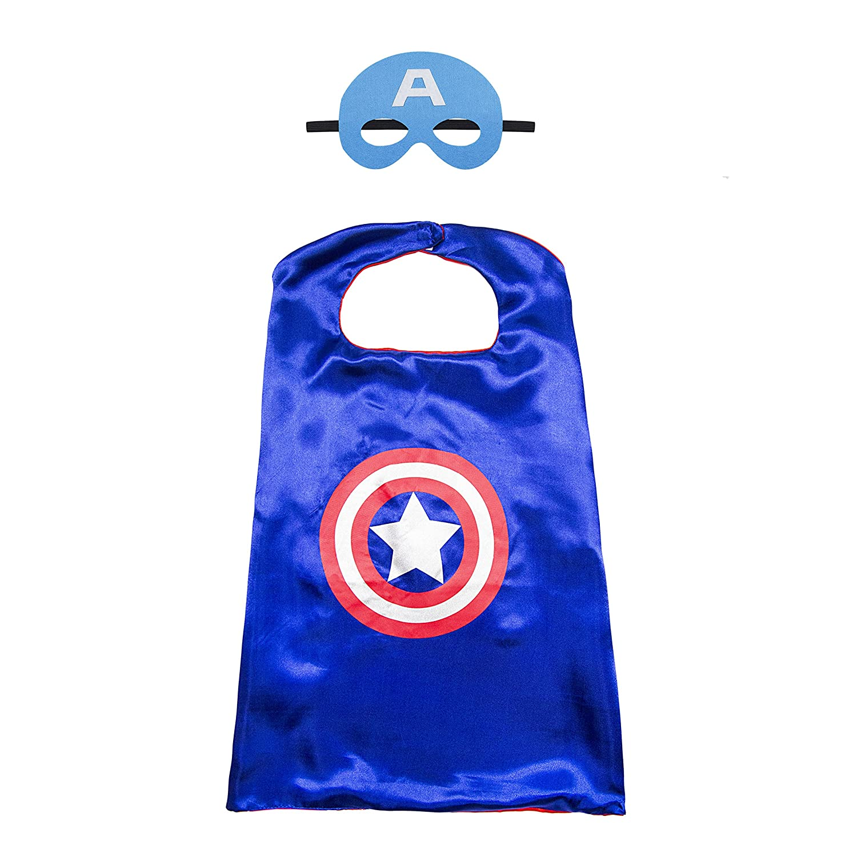 Kiddo Care 1 juego de traje de superhéroe de capitán América, máscara, capa, satén (niños)
