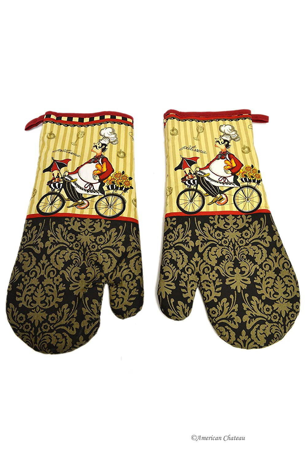 2 Piece Fat French Chef On Bicycle Bbq Kitchen Gloves Oven Mitts Bistro Decor American Chateau