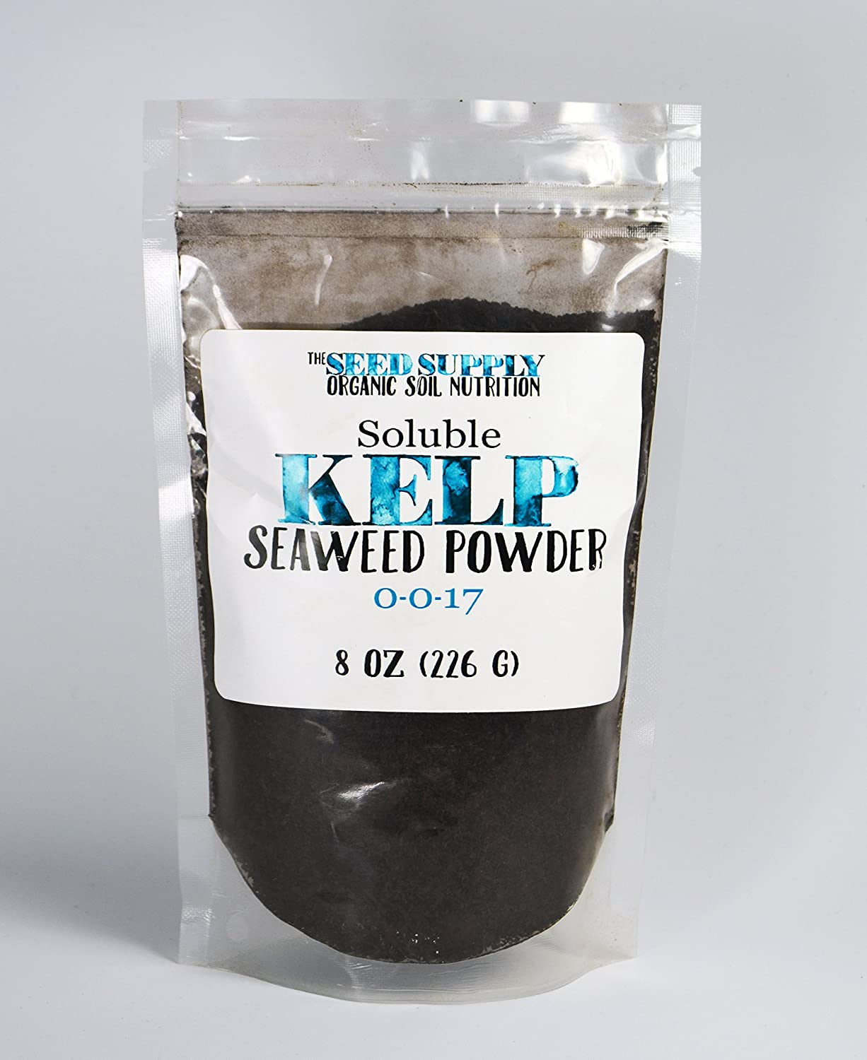 Soluble Kelp Seaweed Powder - 8 Ounces for Plant Root Development and Growth Stimulant 0-0-17 Organic Fertilizer