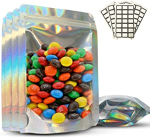 Resealable Smell Proof Bags – 100Pcs Set Stand Up Bags – 4 x 6 Inch Holographic Mylar Ziplock Bags – Transparent Clear Front – Strong Zipper – Packaging Bags for Food Storage, Snacks, Gifts, Cosmetics