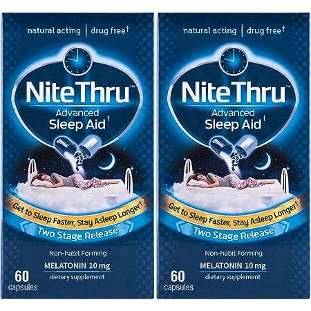 Amazon.com: NiteThru Advanced Sleep Aid, 60 Ct, Non-habit forming, Melatonin Dietary Supplement: Health & Personal Care