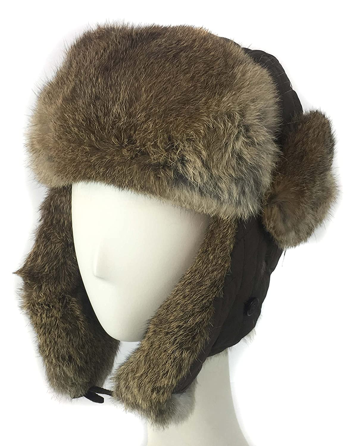 785f1f4768401 surell Trapper Aviator Hat with Rabbit Fur Trim - Warm Bomber Trooper Hat -  Perfect Winter Luxury Gift (Black) at Amazon Women s Clothing store