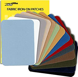 "ZEFFFKA Premium Quality Fabric Iron-on Patches Inside & Outside Strongest Glue 100% Cotton Blue Gray Beige Brown Yellow Red Green Repair Decorating Kit 14 Pieces Size 3"" by 4-1/4"" (7.5 cm x 10.5 cm)"