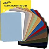 ZEFFFKA Premium Quality Fabric Iron-on Patches Inside & Outside Strongest Glue 100% Cotton Blue Gray Beige Brown Yellow…