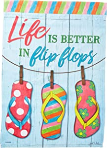 Carson Home Accents FlagTrends 46807 Life is Better in Flip Flops Classic Outdoor Garden Flag, Ladybug Trio