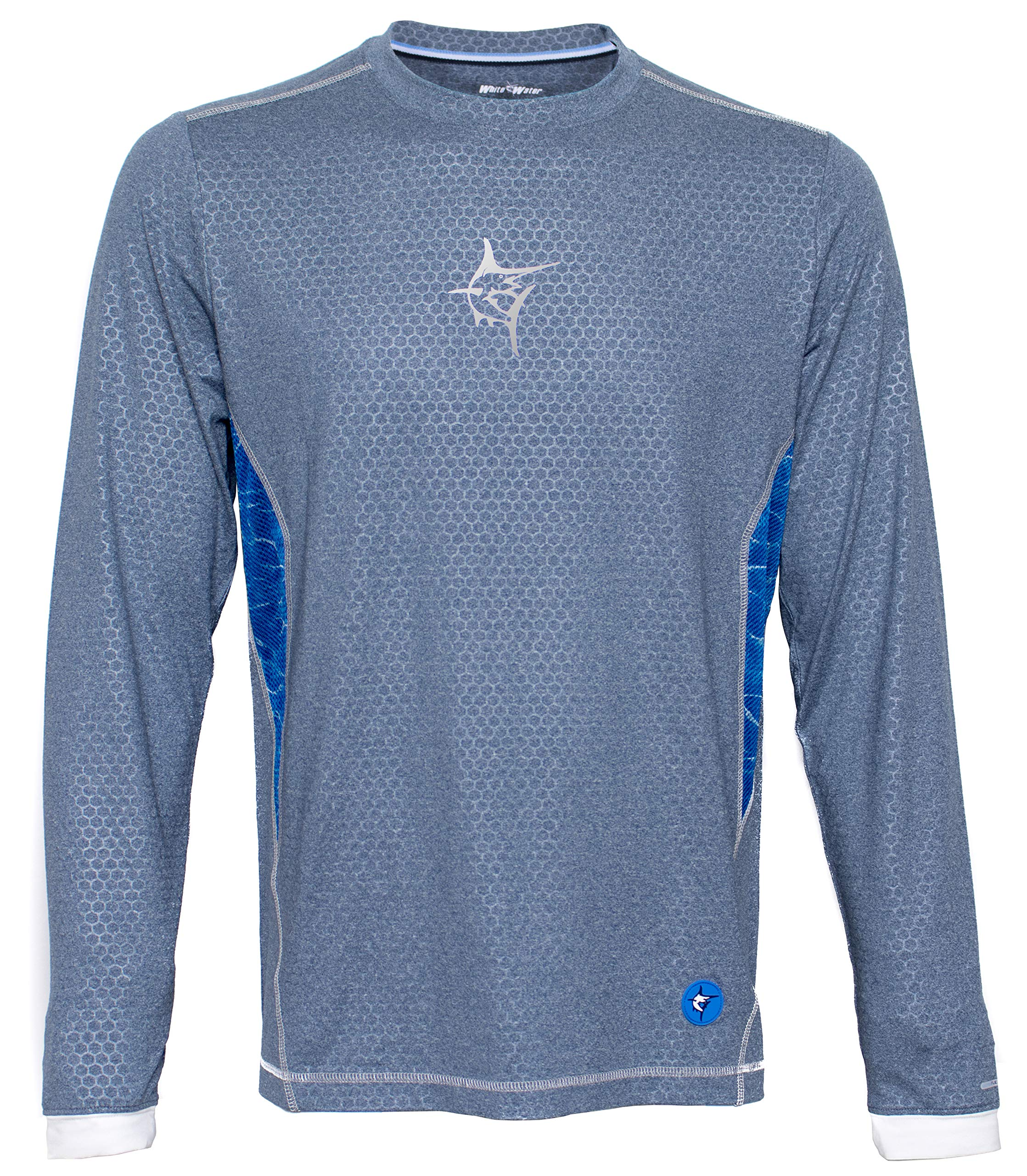 White Water Men's Technoflex Long Sleeve Performance Shirt with UV50 Protection-Blue/Grey XL by White Water