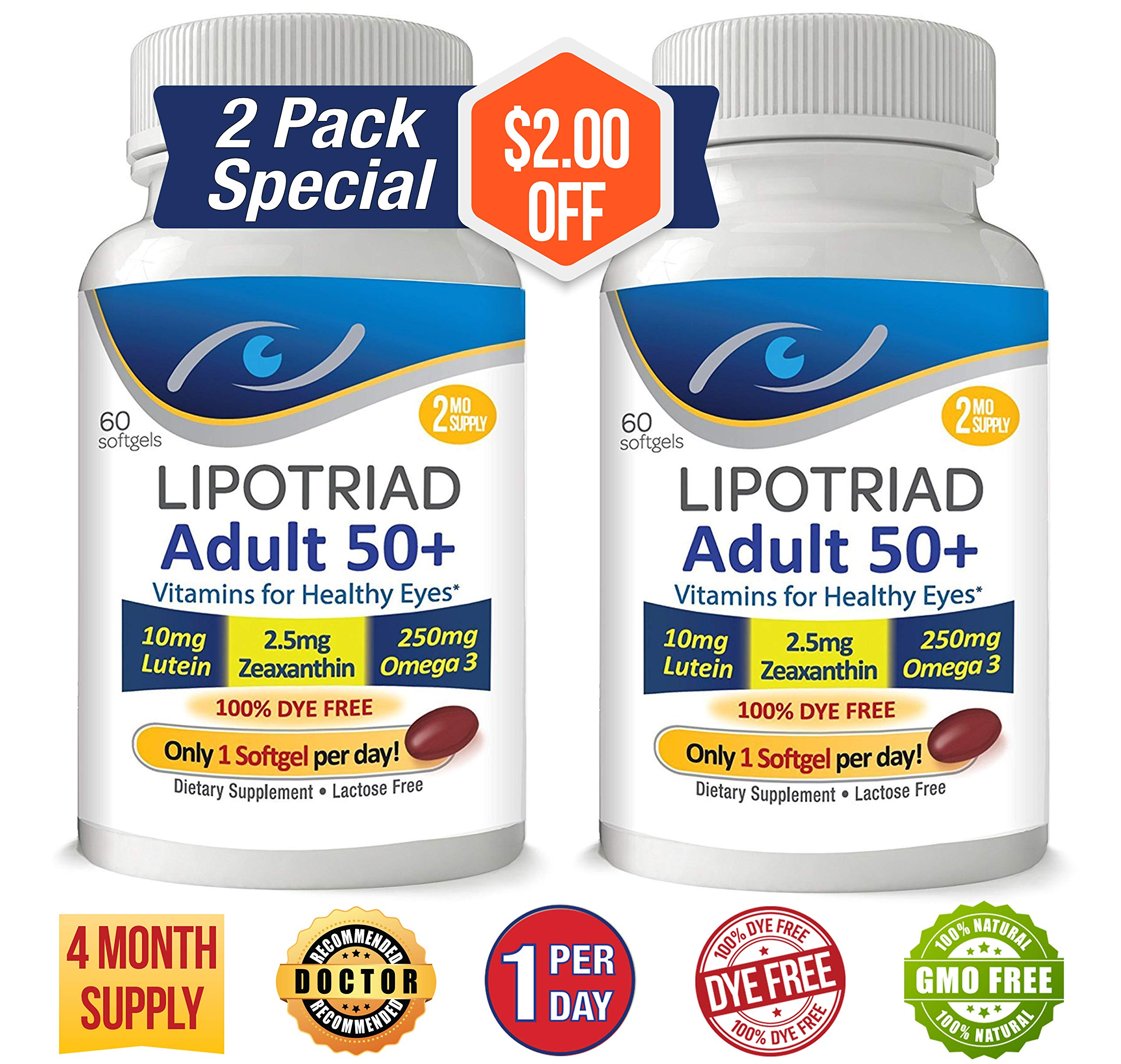 Lipotriad Adult 50+ Eye Vitamin and Mineral Supplement w/10mg Lutein, Zeaxanthin, Omega 3, Vitamin C, E, Zinc Copper, 1 Per Day, 60 Softgels - 4mo Supply - 2pck by Lipotriad