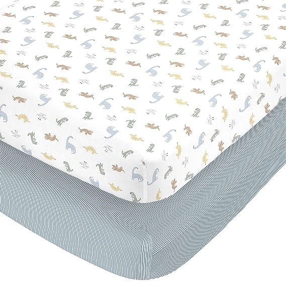 orange Dinosaur triangles green blue fitted crib sheet #0121