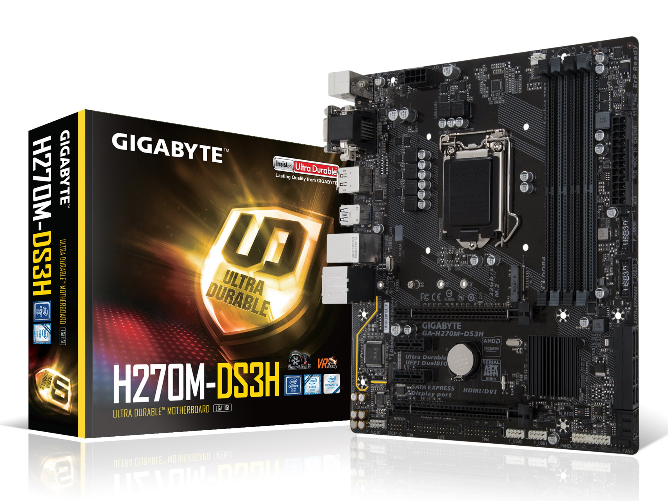 GIGABYTE GA-H270M-DS3H LGA1151 Intel H270 2-Way Crossfire Micro ATX DDR4 Motherboard by Gigabyte