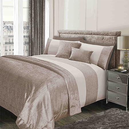 sienna glitter duvet cover with pillow case sparkle glitz velvet bedding set natural gold cream - Velvet Bedding