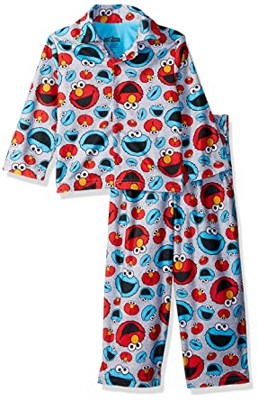 Sesame Street Boys  Toddler Elmo and Cookie Monster 2-Piece Pajama Coat Set a1defdc75