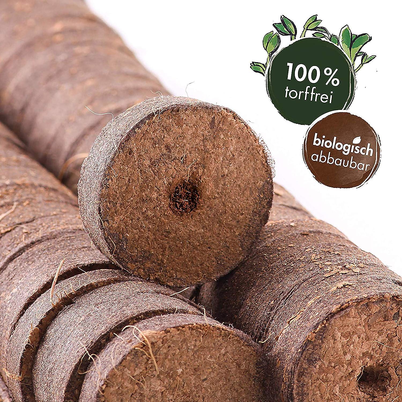 Torf-Quellt/öpfe Kokos Quelltabletten mit N/ährstoffen FHYT 24 St/ück Torfquellt/öpfe Aussaaterde Anzuchterde Torftablette