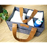Diaper Storage Caddy By Danha – Portable Diaper Bag And Stacker With Beautiful Felt With Leather Handle Unisex Design – Changing Table Storage Basket And Nappy Caddy