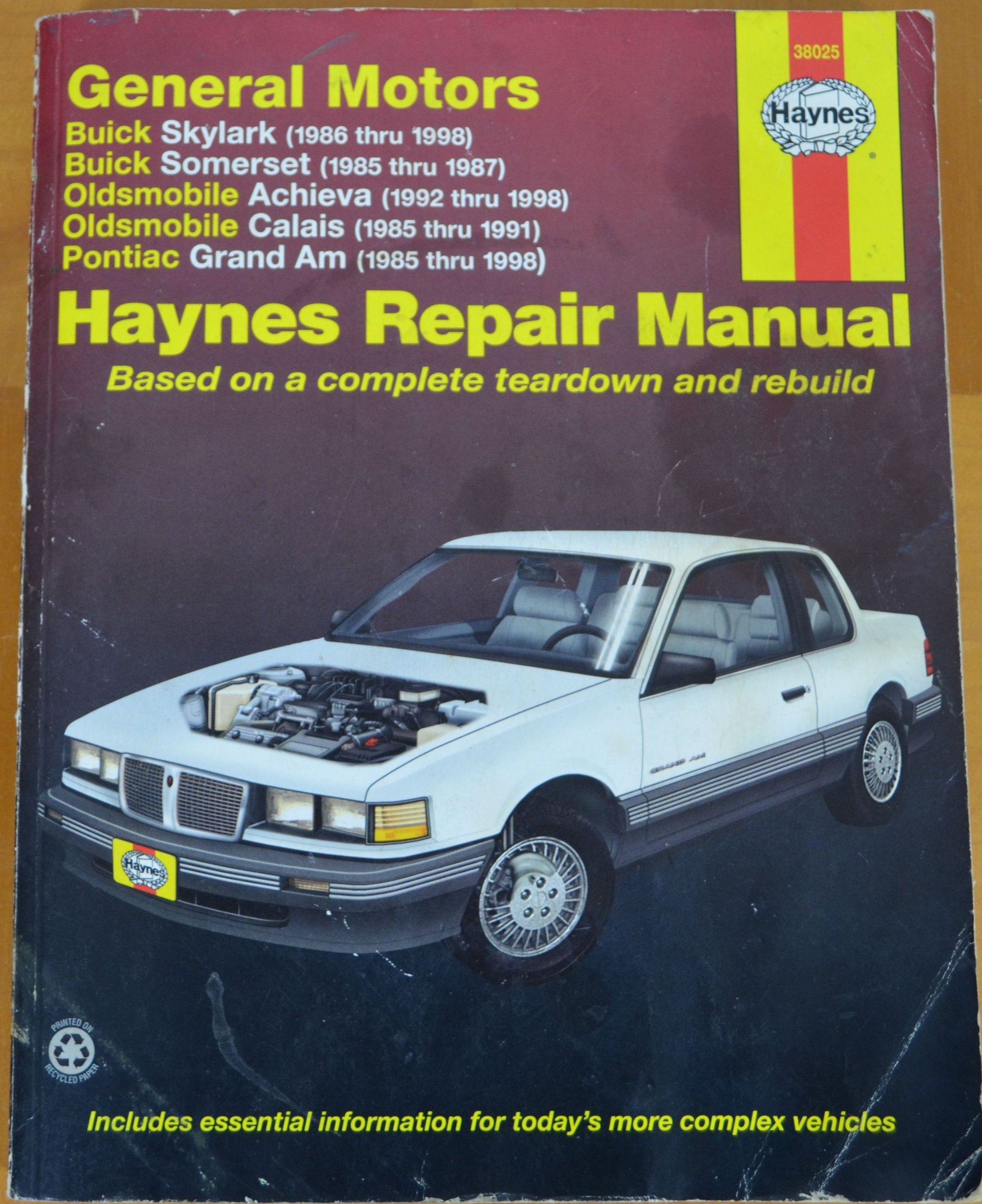 ... thru 1998) oldsmobile calais (1985 thru 1991) pontiac grand am (1985  thru 1998) (38025) (Haynes Repair Manual): Richard Lindwall: Amazon.com:  Books