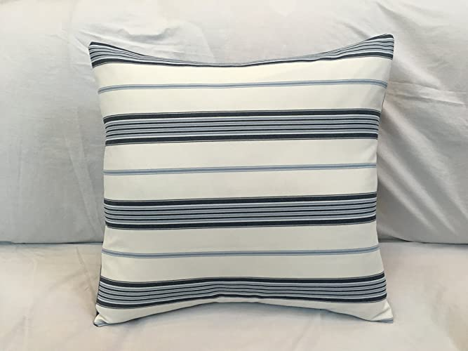 Amazon Com French Ticking Pillow Cover Blue White Striped