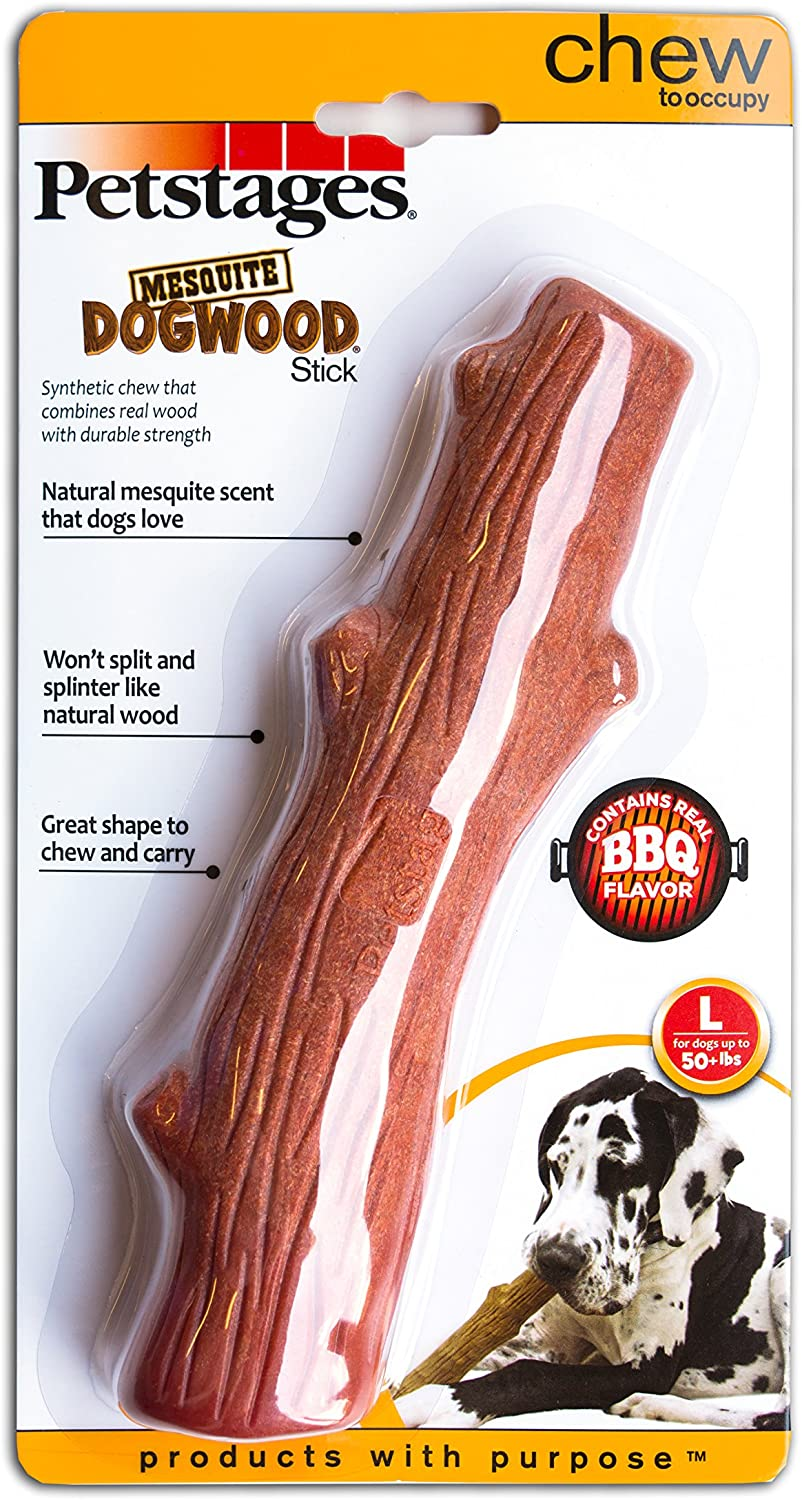 Petstages Dogwood Wooden Dog Chew Toy – Safe, Natural & Healthy Chewable Sticks - Tough Real Wood Chewing Stick for Dogs