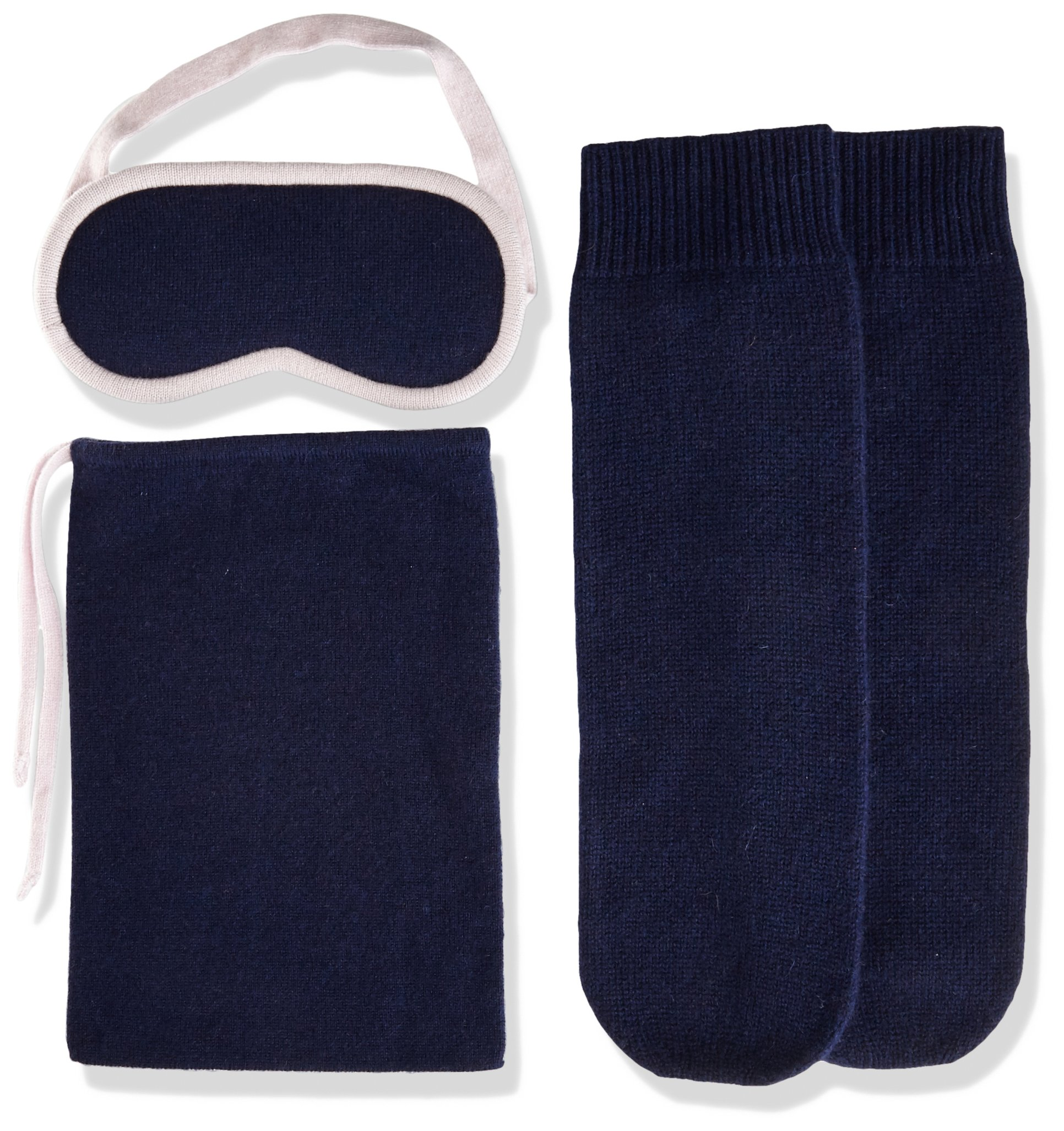 Sofia Cashmere Women's Cashmere Travel Set-Eyemask and Socks, Navy ZY53372 + Orchid ZY60240, One by Sofia Cashmere