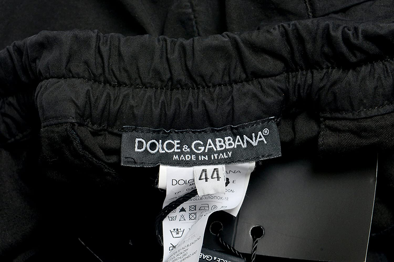 Dolce /& Gabbana Mens Elastic Waist Black Casual Pants US 30 IT 46