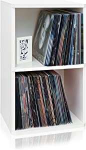 Way Basics 2-Shelf Vinyl Record Storage Cube and LP Record Album Storage Shelf, White (Tool-Free Assembly and Uniquely Crafted from Sustainable Non Toxic zBoard paperboard)