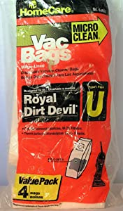 Homecare Micro Clea Vac Bags Micro-lined Royal Dirt Devil Type U