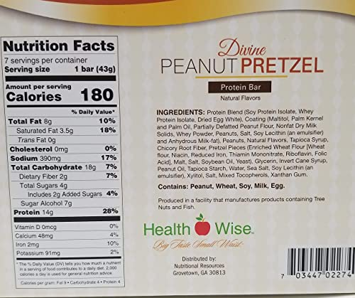 Healthwise – Divine Peanut Pretzel Bar High Fiber Diet Snack Bars Hunger Control and Appetite Suppressant High Protein, Low Fat, Chol Free, Low Net Carbs, 7 Bars