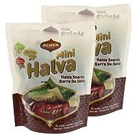 Achva Kosher Vanilla, Cocoa Beans, and Pistachio Mini Halva Bars Snack Bag 18ct. Each Bar 0.4oz Net Wt 7.6oz (Pack of 2)