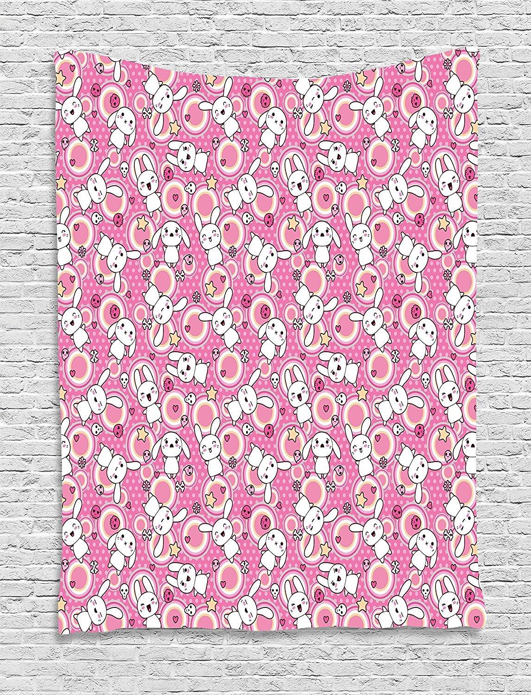asddcdfdd Cartoon Animal Tapestry, Doodle Cute Kawaii Illustration Stars Hearts Bones Flower Girls Design, Wall Hanging for Bedroom Living Room Dorm, 60 W X 80 L Inches, Pink Peach White