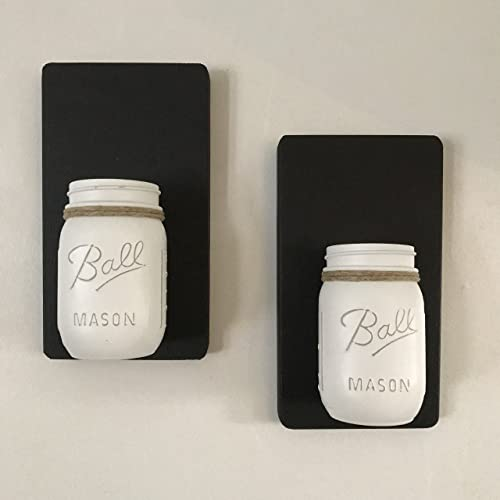 Tennessee Wicks Hand Painted Mason Jar Wall Sconce Set Of  White Distressed
