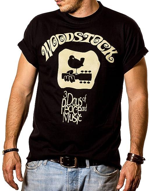 Maglietta Hippie Uomo WOODSTOCK T-Shirt Musica Rock  Amazon.it ... b8a502d531fa
