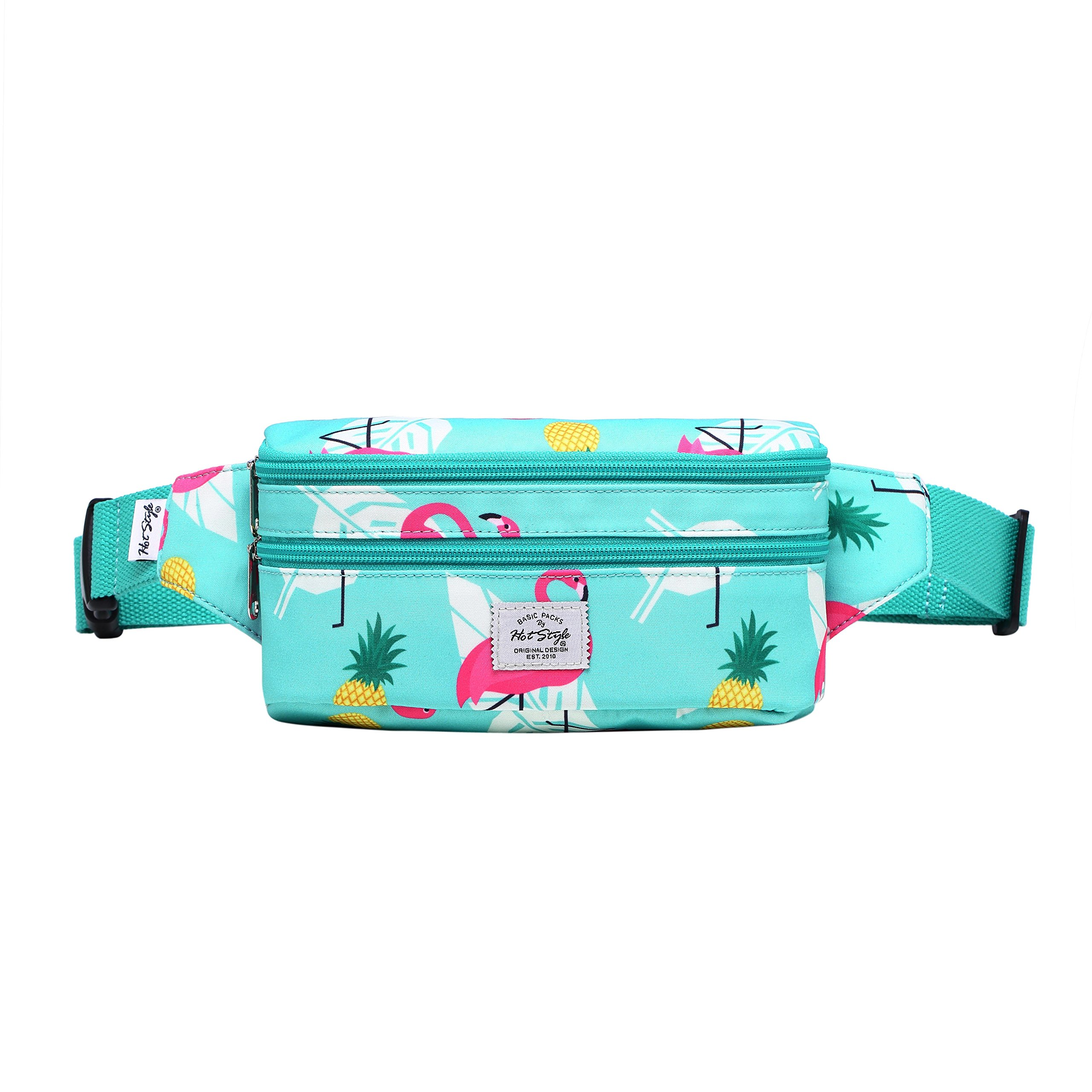521s Fashion Waist Bag Cute Fanny Pack | 8.0''x2.5''x4.3'' | Flamingo, Mint