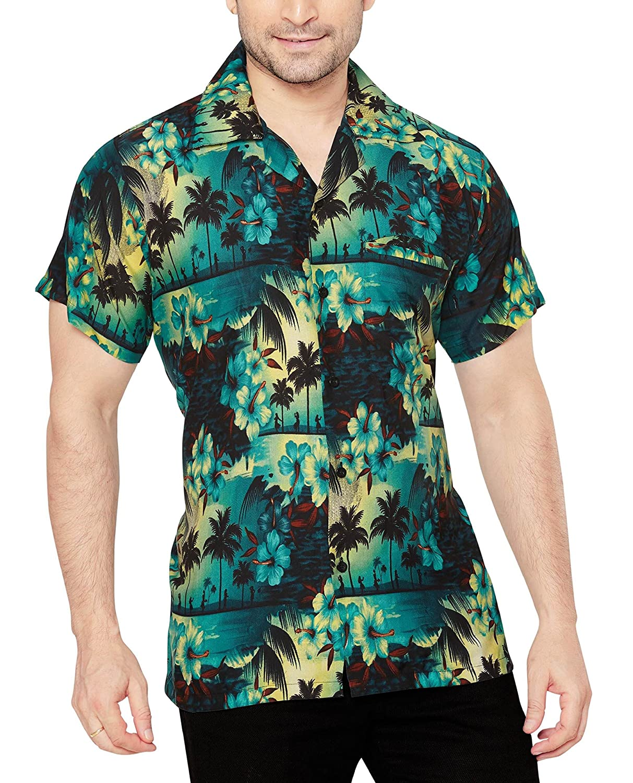 TALLA M. CLUB CUBANA Camisa Hawaiana Floral Manga Corta Casual Ajuste Regular para Hombres